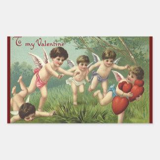 Querubes del el día de San Valentín del vintage Pegatina Rectangular