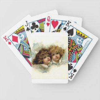 Querubes del vintage barajas de cartas