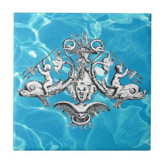 Querubes que montan delfínes azulejo