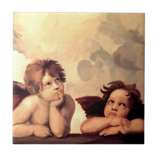 Querubes Raffaelo Sanzio de Sistine Madonna Azulejos