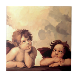 Querubes Raffaelo Sanzio de Sistine Madonna Azulejo Cuadrado Pequeño
