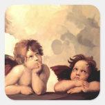 Querubes Raffaelo Sanzio de Sistine Madonna Pegatinas Cuadradases Personalizadas