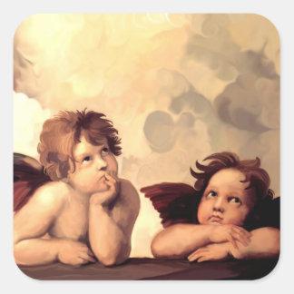 Querubes Raffaelo Sanzio de Sistine Madonna Pegatina Cuadrada
