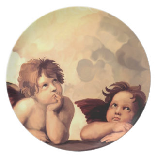 Querubes Raffaelo Sanzio de Sistine Madonna Platos Para Fiestas