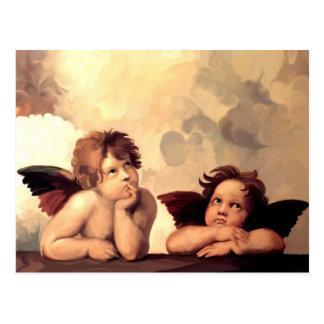 Querubes Raffaelo Sanzio de Sistine Madonna Postales