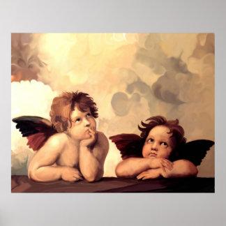 Querubes Raffaelo Sanzio de Sistine Madonna Póster