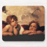 Querubes Sistine Madonna de Raphael 2 ángeles Alfombrillas De Ratón