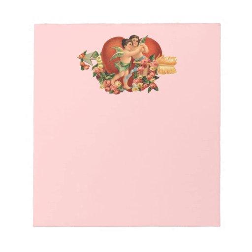 Querubes y corazones adaptables del vintage blocs de papel