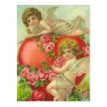 Querubes y corazones dulces postales