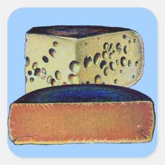 Queso antiguo de Gloucester del doble del vintage Pegatina Cuadrada