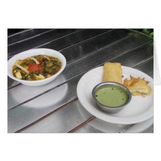 Queso de Panner y curry fritos de la espinaca Tarjeta De Felicitación