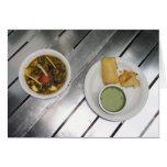 Queso de Panner y curry fritos de la espinaca Tarjetón