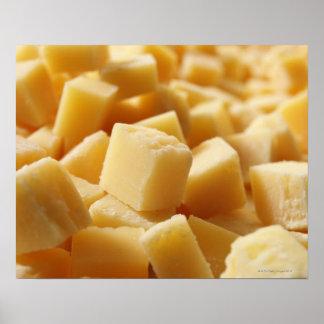 Queso de Reggiano del parmesano en cubos Póster