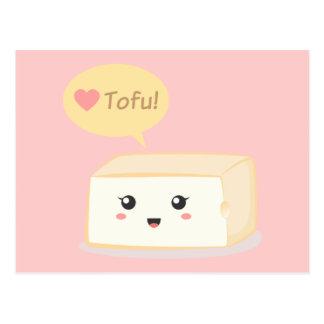 Queso de soja de Kawaii que pide que la gente ame  Tarjetas Postales