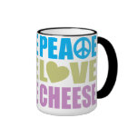 Queso del amor de la paz tazas