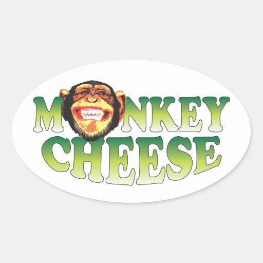 Queso del mono pegatina ovaladas personalizadas