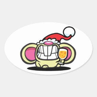 ¡QUESO del navidad! Calcomanías Ovales Personalizadas