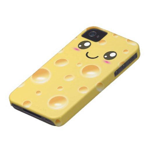 Queso feliz lindo de Kawaii Case-Mate iPhone 4 Coberturas
