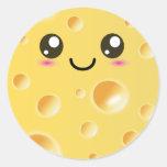 Queso feliz lindo de Kawaii Etiqueta Redonda