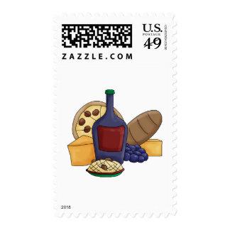 Queso italiano del vino del pan de las pastas de estampilla