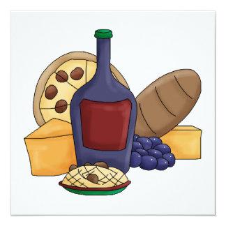 """Queso italiano del vino del pan de las pastas de invitación 5.25"""" x 5.25"""""""