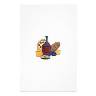 Queso italiano del vino del pan de las pastas de l personalized stationery