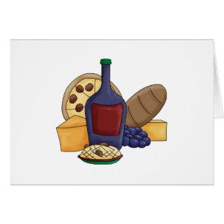 Queso italiano del vino del pan de las pastas de l tarjeta de felicitación