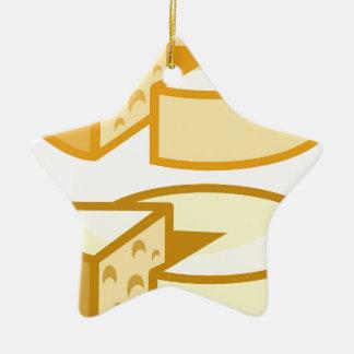 Queso redondo adorno navideño de cerámica en forma de estrella