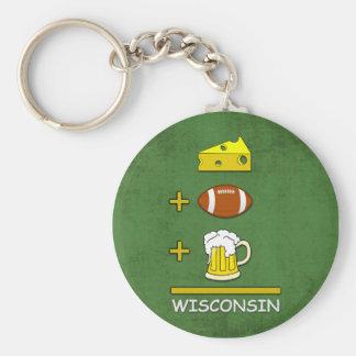 Queso y fútbol y medios Wisconsin de la cerveza Llavero Redondo Tipo Pin