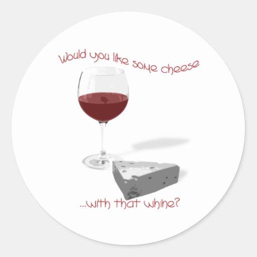 queso y vino pegatina redonda