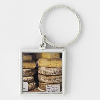 quesos franceses regionales del artesano llavero cuadrado plateado