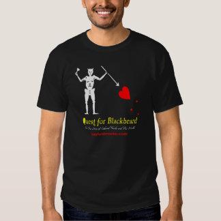 Quest for Blackbeard Flag Black T-Shirt