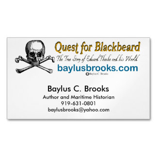 Quest for Blackbeard - Magnetic Bus. cards (white) Business Card Magnet