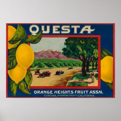 Questa Lemon LabelCorona, CA Posters