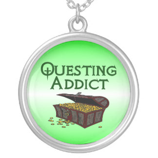 Questing Addict Round Pendant Necklace