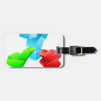 Question and answer concept luggage tags