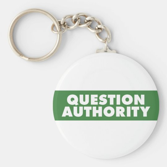 Question Authority - Green Keychain
