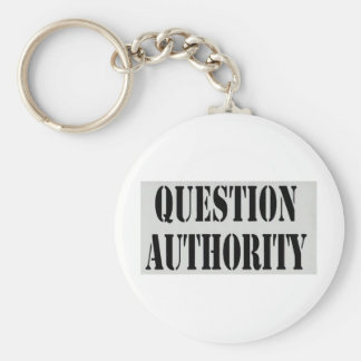 Question Authority Basic Round Button Keychain