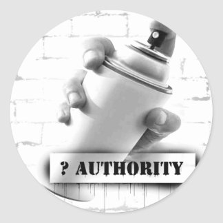Question Authority - Spray Paint Can - Graffiti Classic Round Sticker