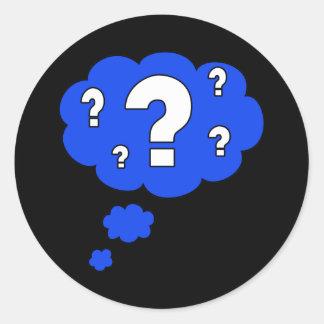 question classic round sticker