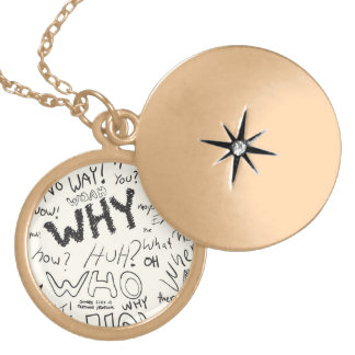 Question Doodles Gold Plated Necklace