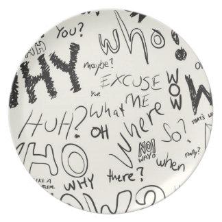Question Doodles Plate