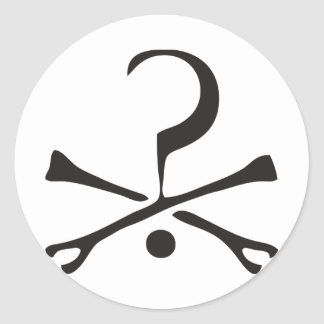 question mark and crossbones classic round sticker