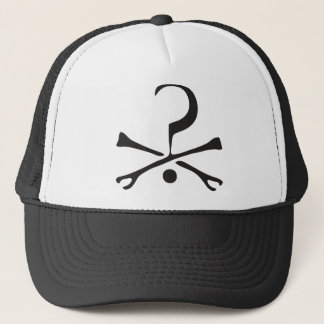 question mark and crossbones trucker hat