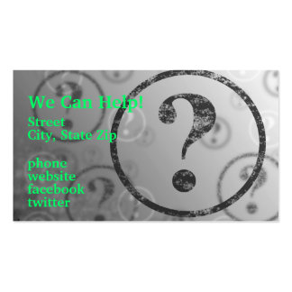 Question Mark Background BW Business Card