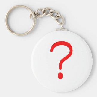 Question Mark? Black Blue Red Basic Round Button Keychain