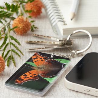 question mark butterfly Single-Sided rectangular acrylic keychain