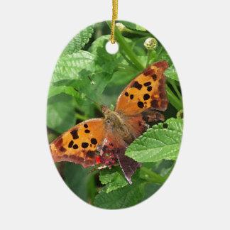 Question Mark Butterfly on Lantana Ceramic Ornament