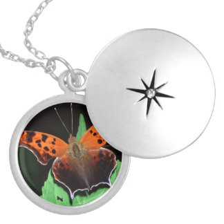 question mark butterfly silver plated necklace