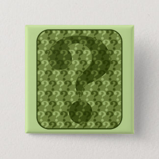 Question Mark Design in Green Pinback Button